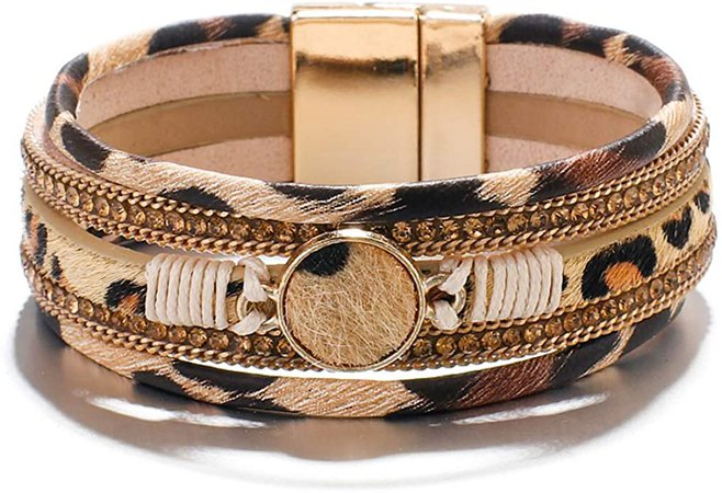 Amazon.com: ARVATO Leopard Bracelets for Women Teen Girls Multilayer Wide Animal Cheetah Print Leather Wrap Bracelet Jewelry Ideas: Jewelry