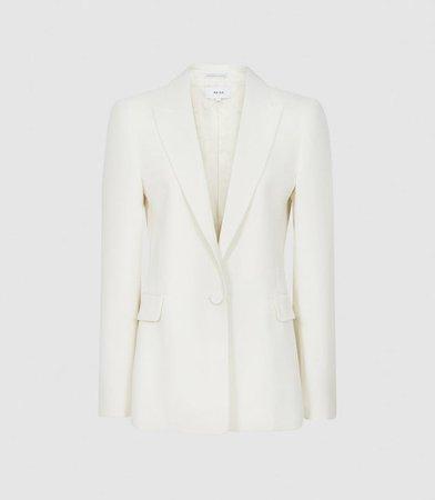 Leigh White Wool Blend Tuxedo Blazer – REISS