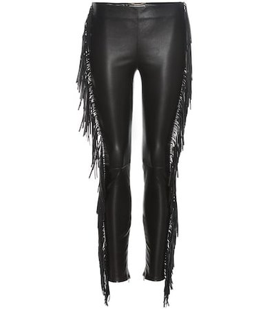 Fringed leather trousers