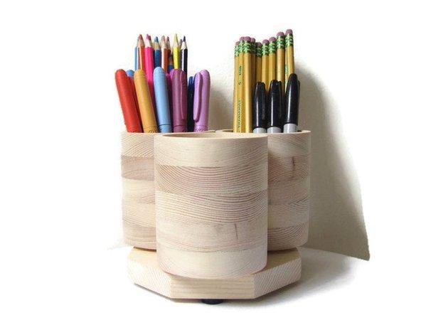 3 Cup DESKTOP Rotating Pencil Holder Marker Storage Desk | Etsy