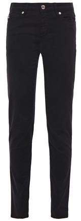 Flocked Printed Mid-rise Slim-leg Jeans