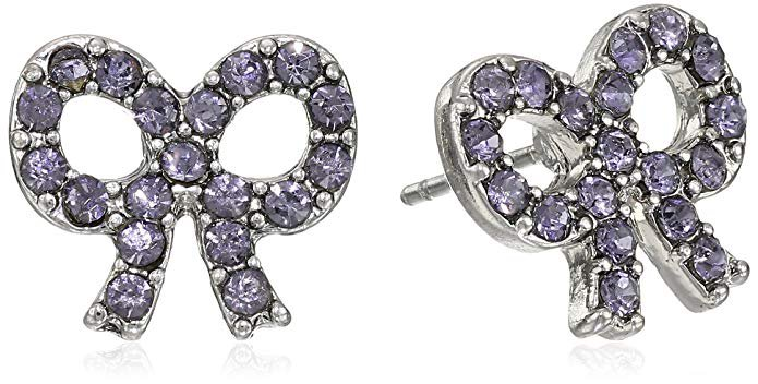 "Betsey Johnson ""Iconic Amethyst"" Bow Stud Earrings: Clothing"