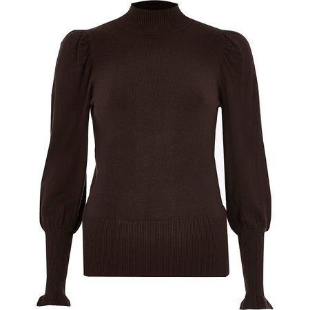 Brown turtle neck long sleeve sweater - Sweaters - Knitwear - women