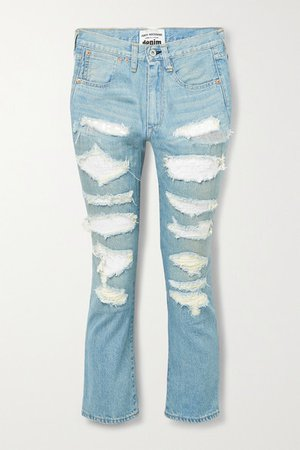 Sequined Distressed High-rise Straight-leg Jeans - Light blue
