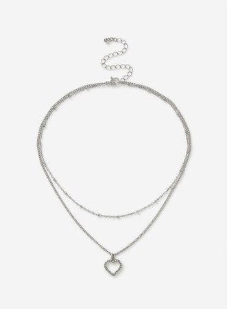 Silver Heart Multirow Choker Necklace | Dorothy Perkins