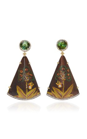 M'O Exclusive: Marquetry Butterfly And Tree Earrings by Silvia Furmanovich   Moda Operandi