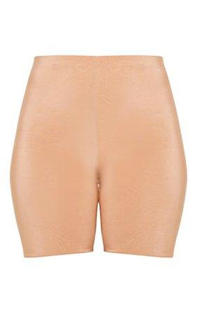 Bella Camel Slinky High Waisted Bike Shorts | PrettyLittleThing USA