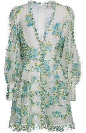 Lace-up Appliqued Floral-print Gauze Mini Dress