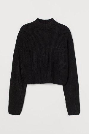 Knit Mock-turtleneck Sweater - Black