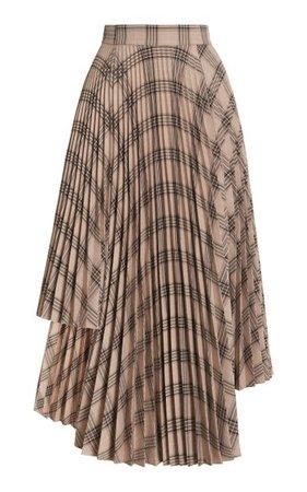 Asymmetric Pleated Plaid Midi Skirt By Rokh   Moda Operandi