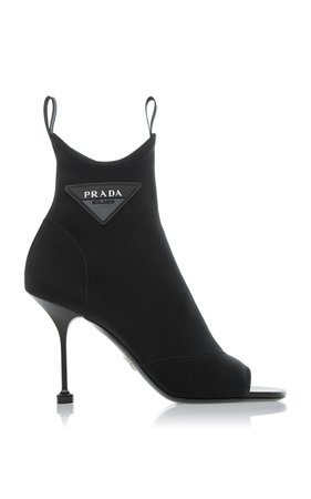 Prada Appliquéd Stretch-Knit Sock Boots
