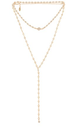 Ettika Layered Lariat Necklace in Gold | REVOLVE