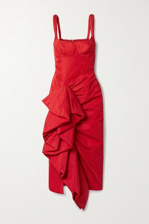 Ruffled Cotton-blend Faille Midi Dress - Red