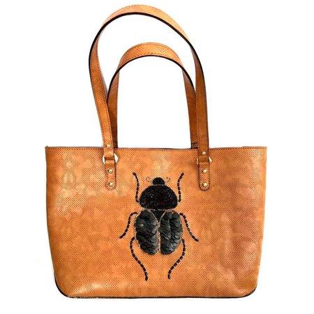 Tan Beetle Tote  by Simitri Designs