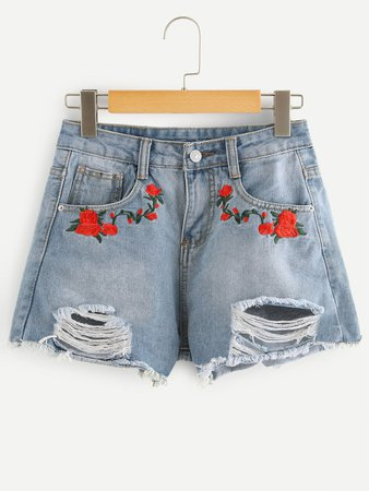 Floral Embroidered Ripped Denim Shorts