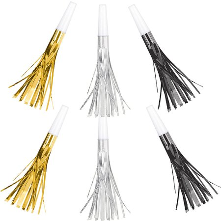 Metallic Black, Gold & Silver Fringe Party Horns 8ct | Party City Canada