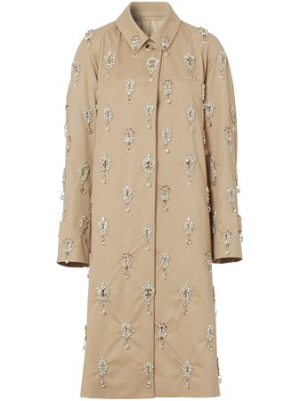 Burberry, crystal-embellished car coat