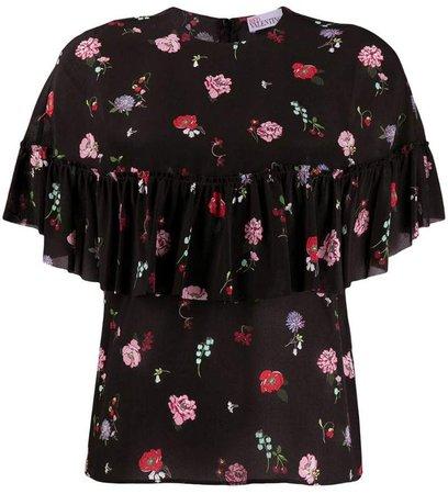 RED(V) frilled floral blouse