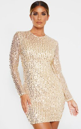 Gold Sequin Long Sleeved Bodycon Dress | PrettyLittleThing
