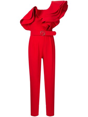 Shop red Saiid Kobeisy one-shoulder ruffle jumpsuit with Express Delivery - Farfetch