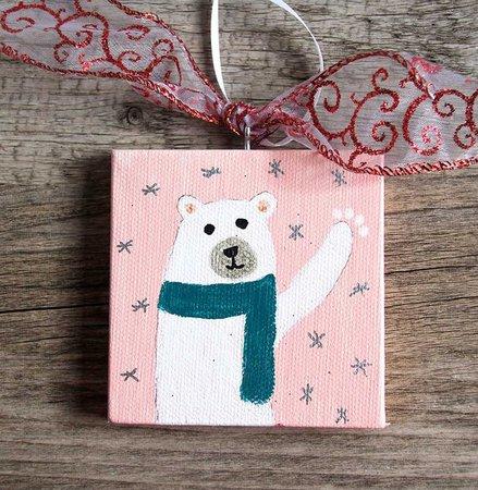 Polar Bear Holiday Ornament on Mini Canvas Handmade Christmas | Etsy