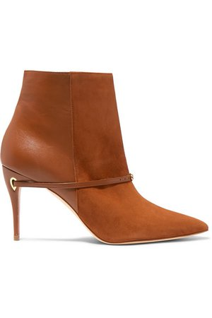 Jennifer Chamandi | Nicolò 85 suede and leather ankle boots | NET-A-PORTER.COM