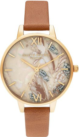 Abstract Florals Leather Strap Watch, 34mm