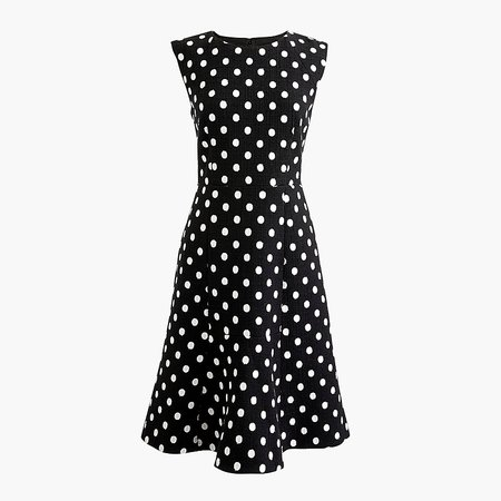 J.Crew: A-line Dress In Polka-dot Embroidered Tweed With Fluted Hem