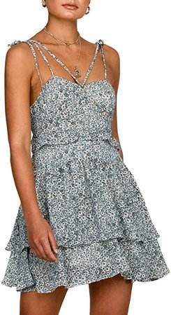 Boho Floral Fit and Flare Ruffle Dress Backless Aline Dress Green
