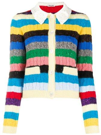 Miu Miu Striped cable-knit Cardigan - Farfetch