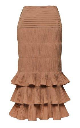 Canela Flavour Cotton-Blend Plissé Midi Skirt By Johanna Ortiz   Moda Operandi