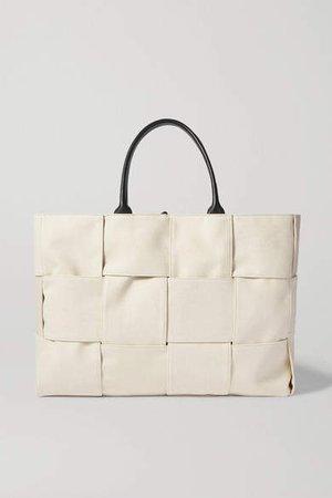 Cabas Leather-trimmed Intrecciato Canvas Tote - Neutral