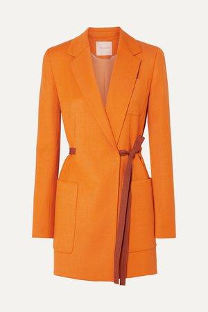 Orange Belted grain de poudre blazer   Roksanda   NET-A-PORTER