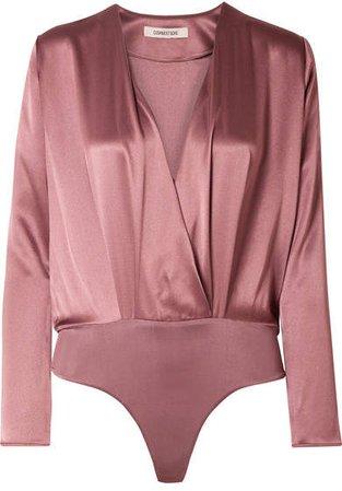 Cushnie - Wrap-effect Silk-charmeuse Bodysuit - Antique rose