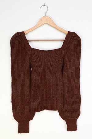 Brown Sweater - Balloon Sleeve Sweater Top - Square Neck Sweater - Lulus