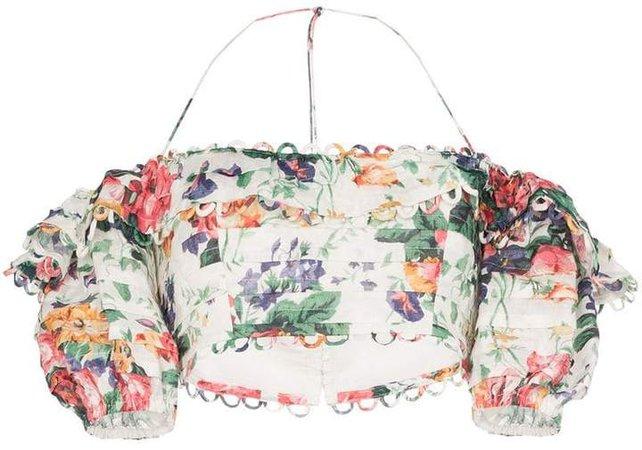 Allia floral off-the-shoulder top