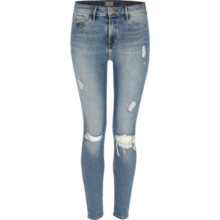 Mid blue Molly ripped skinny jeggings - Jeggings - Jeans - women