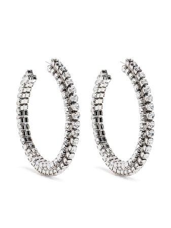 AREA stacked crystal round hoop earrings