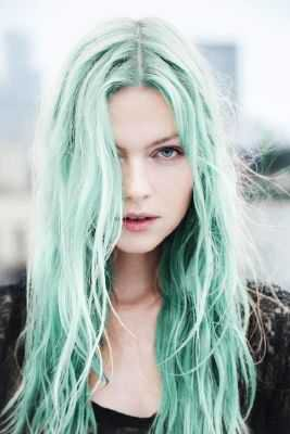 green haired woman