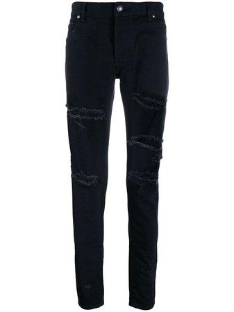 Balmain Ripped Skinny Denim Jeans - Farfetch