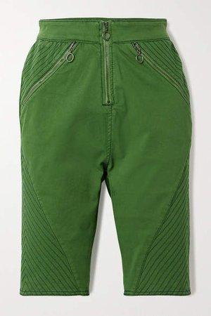 Stretch-organic Cotton Twill Shorts - Green