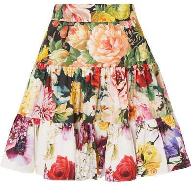 Tiered Floral-print Cotton-poplin Mini Skirt - White