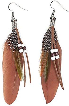 Amazon.com: KISSPAT Nature Feather Earring Cute Handmade Goose Feather Super Light Boho Dangle Earrings for Women Girls, Brown: Jewelry