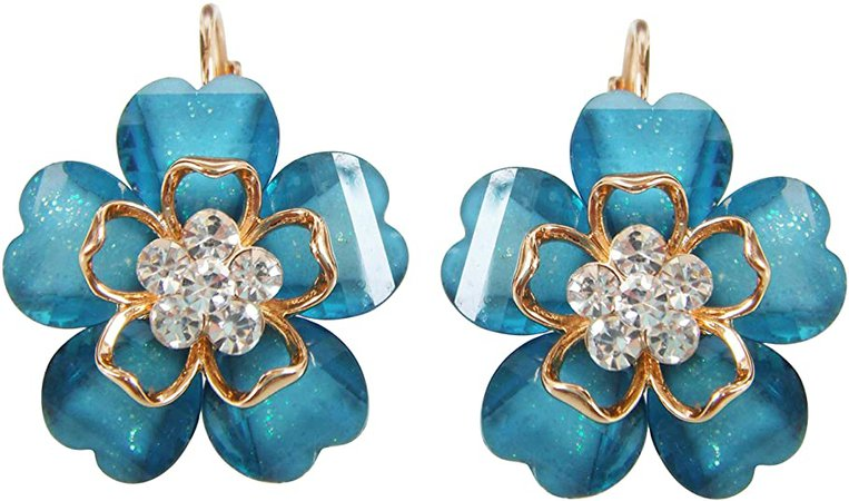 Navachi 18k Gold Plated Blue Crystal Acetate Blooming Flowers Az2529e Leverback Earrings