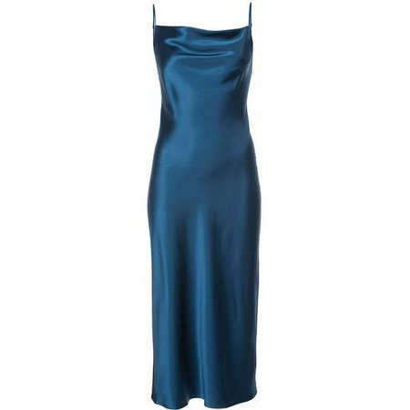 dark blue silk slip dress
