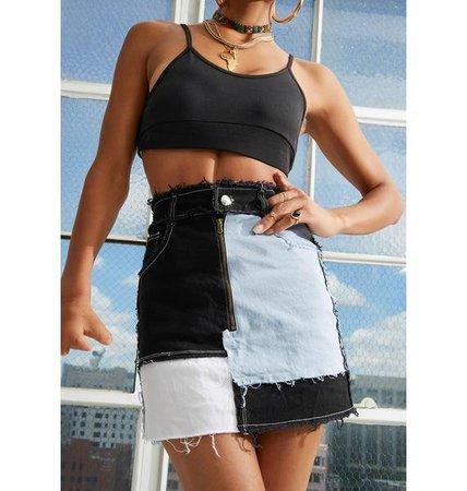 Patchwork Denim Mini Skirt - Black   Dolls Kill