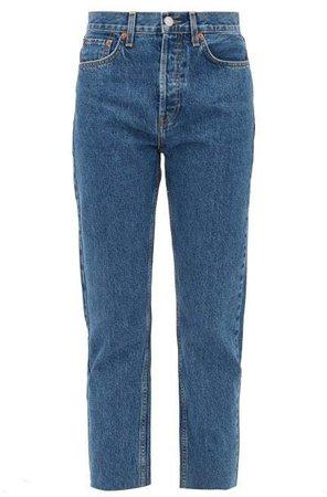 Stovepipe High Rise Straight Leg Jeans - Womens - Dark Denim
