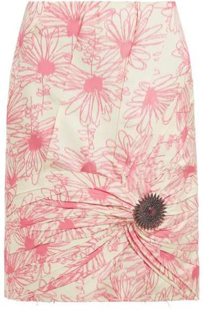 Brooch Embellished Floral Print Silk Skirt - Womens - Pink White