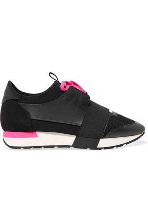 Balenciaga | Race Runner leather, suede, mesh and neoprene sneakers | NET-A-PORTER.COM
