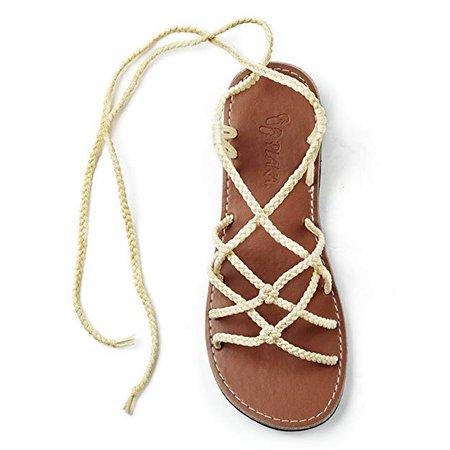Amazon.com   Plaka Flat Gladiator Sandals for Women Sweet Ivory Size 8 Sahara   Sandals